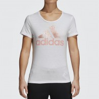 Adidas T-shirt Donna Foil text bos Bianco/salmone Multisport