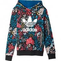 Adidas Felpa cappuccio Fantasia Donna Trf logo hoodie Nero/multicolor Fashion