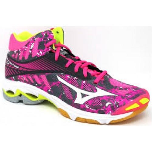 new style f8d63 065c7 Lightning Fucsiabianco Donna Scarpe Volley Mid Wave Mizuno W