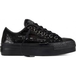 Converse Scarpe tela alta Donna Ct as ox platform sequins Nero Fashion
